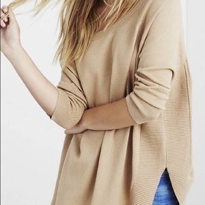 Extreme Circle Hem Tunic Sweater in Camel